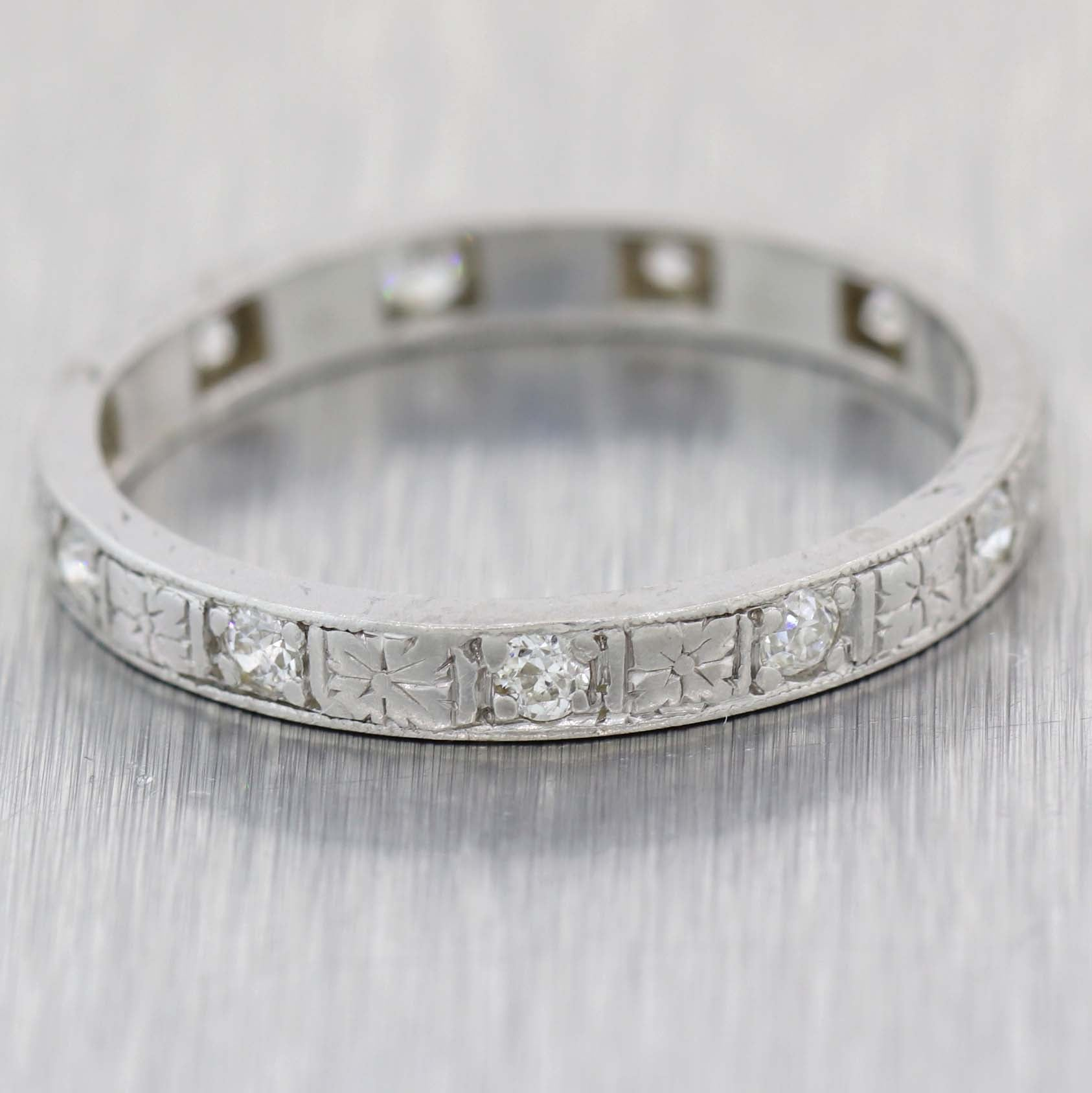 1920s Antique Art Deco Thin Platinum .30ct Diamond Engagement Ring