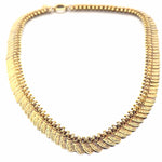 "1880s Antique Victorian 14k Yellow Gold Shield Charm Chain Link Necklace 17"" A9"