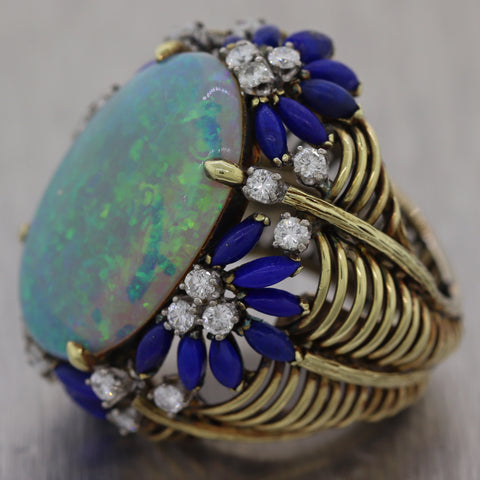 1970's Vintage 18k Yellow Gold 2.40ctw Large Opal Lapis Diamond Cocktail Ring