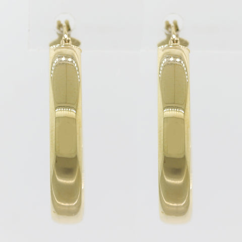 Modern 14k Yellow Gold Hoop Earrings