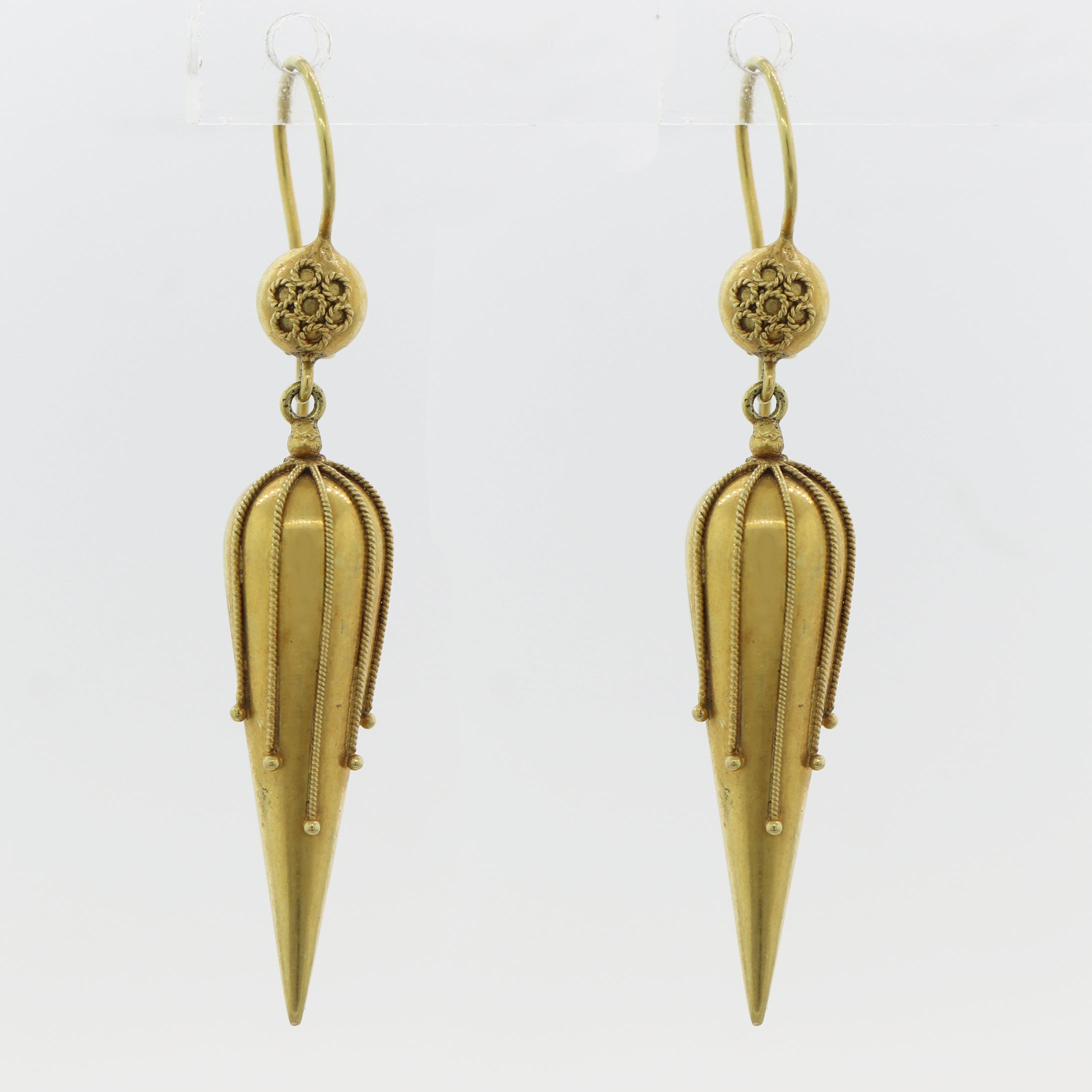 1860's Antique Victorian 15ct Yellow Gold Etruscan Revival Drop Earrings