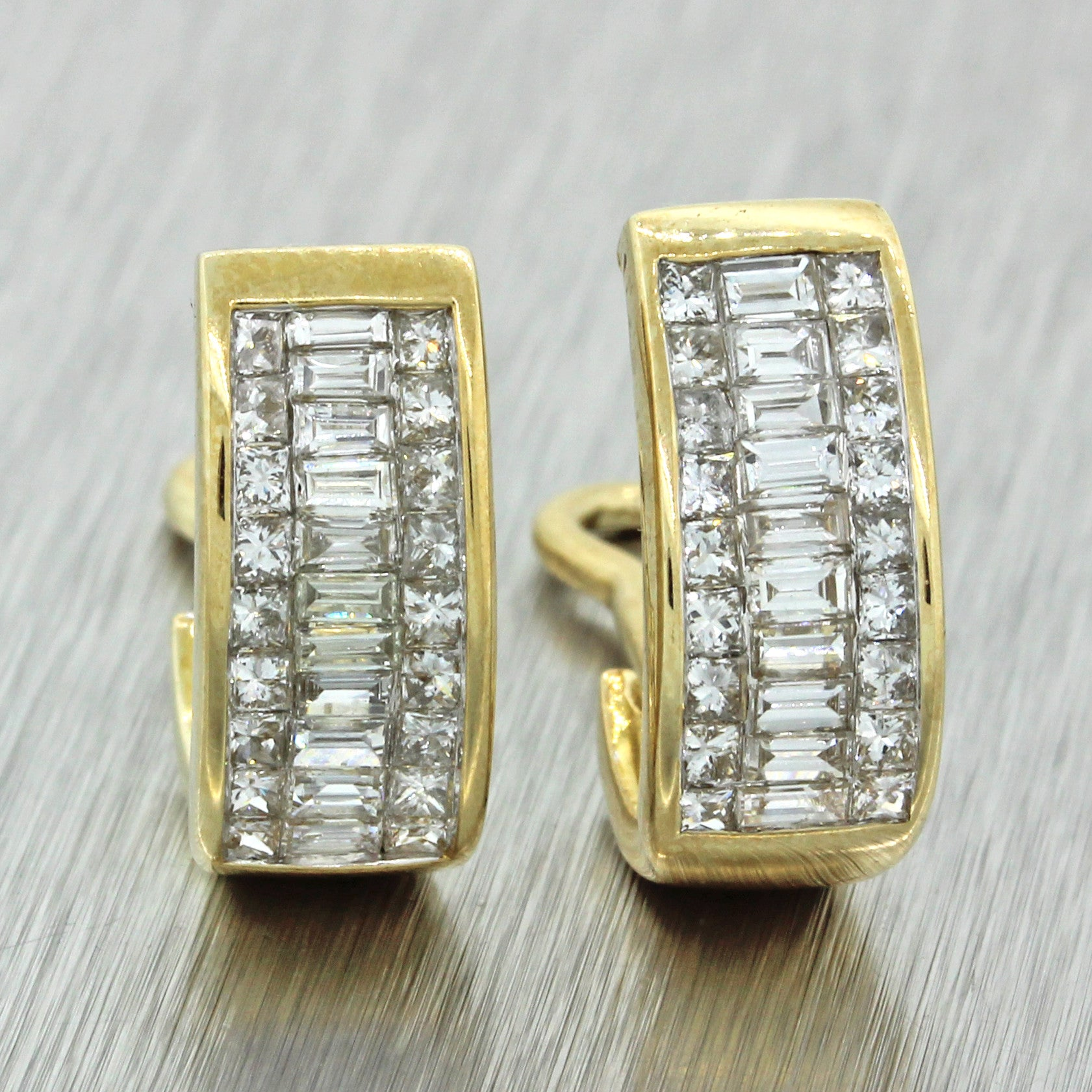 Vintage 14k Solid Yellow Gold 1.88ctw Princess Baguette Diamond Huggie Earrings