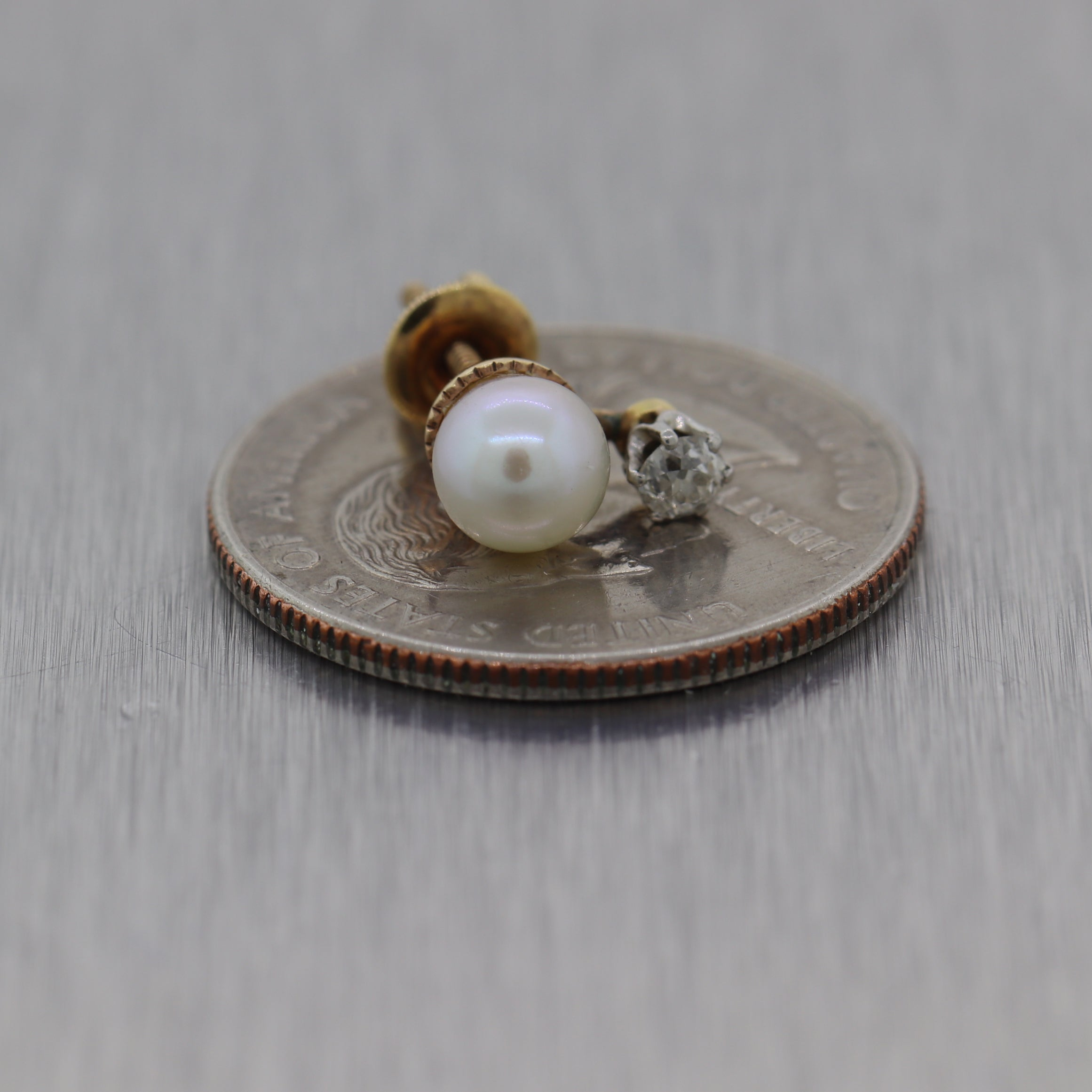 1890's Antique Victorian 14k White Gold 0.20ctw Diamond & Pearl Stud Earrings