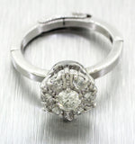 Vintage Estate Adjustable 14k Solid White Gold 0.85ctw Diamond Cluster Ring