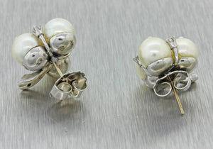Vintage Estate 14k Solid White Gold Pearl Cluster .40ctw Diamond Stud Earrings