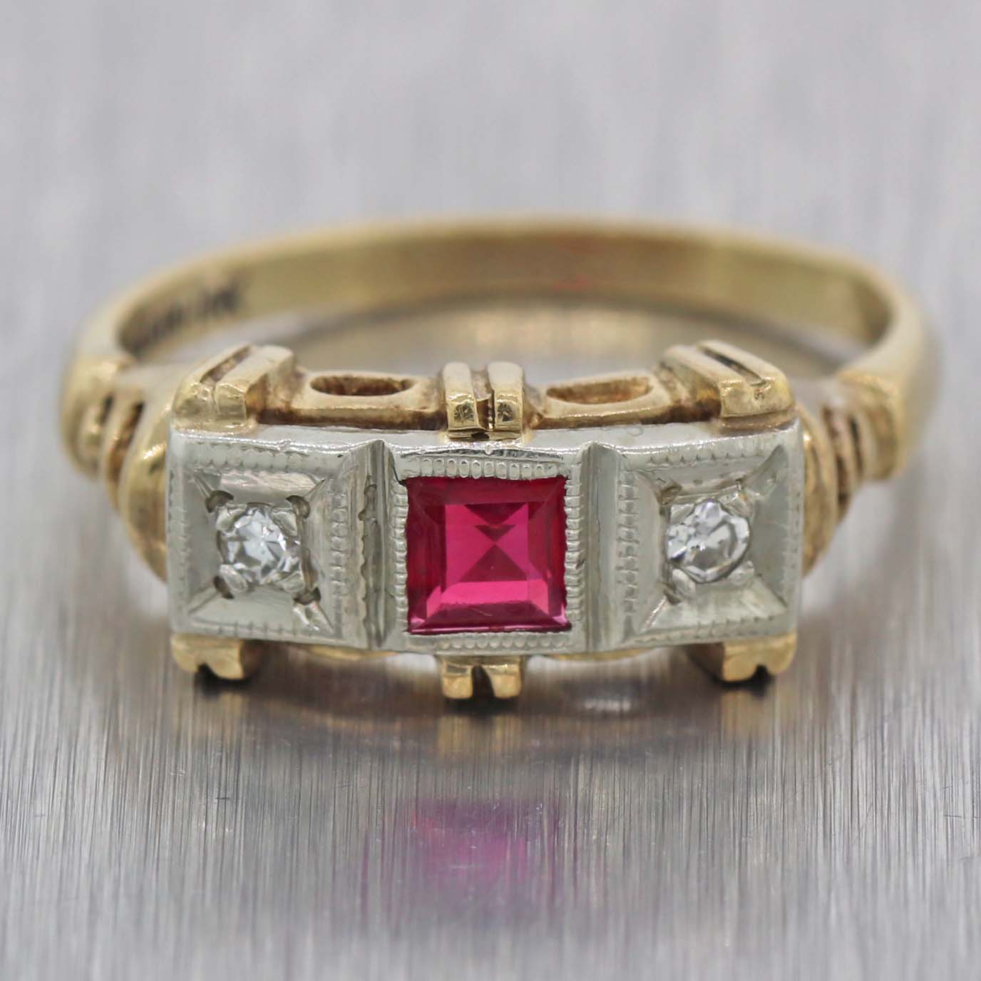 bed7888a71140 1930s Antique Art Deco Estate 10k Yellow Gold .25ctw Ruby Diamond Cocktail  Ring