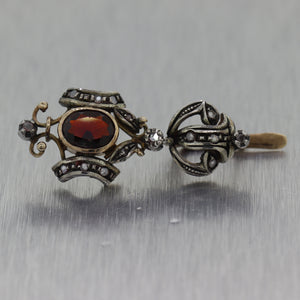 1890's Antique Victorian 14k Yellow Gold & Silver Garnet & Diamond Earrings