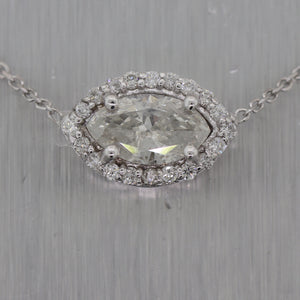"Modern 14k White Gold Marquise Cut 1.12ctw Diamond Pendant 16.5"" Necklace"