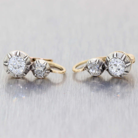 1860s Antique Victorian Estate Silver on Gold 1.00ctw Diamond Clip-on Earrings A9