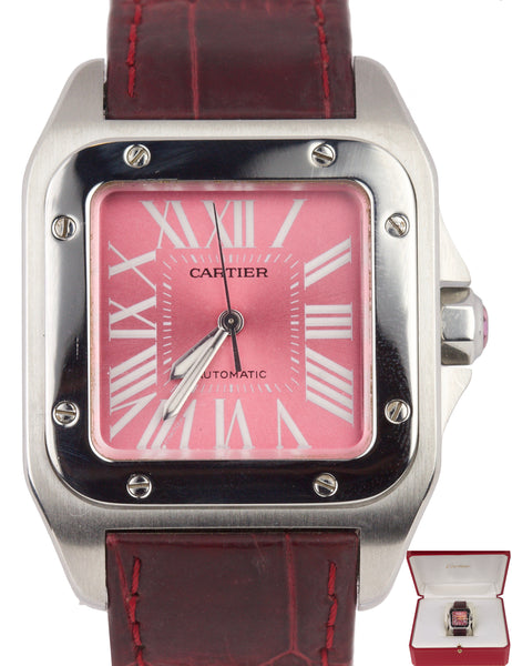 Cartier Santos 100 Midsize 33mm Automatic Stainless Pink Roman Numeral Watch