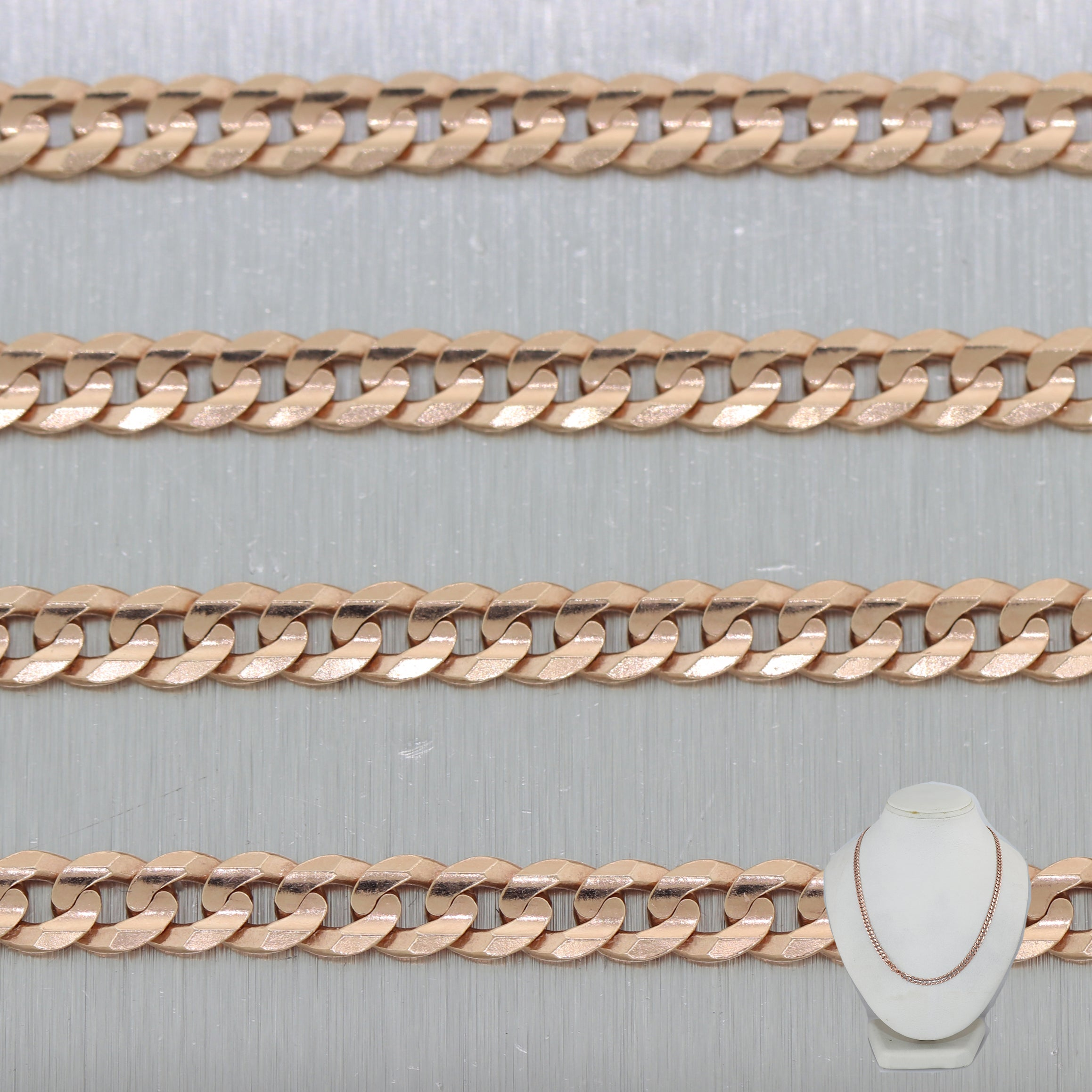 "Modern 15.07G 14k Rose Gold Cuban Curb Link 18"" Chain Necklace"