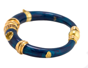 La Nouvelle Bague 18K Yellow Gold 925 Blue Shimmer Enamel Bracelet