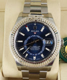 NEW NOV 2018 STICKERED Rolex Sky-Dweller Stainless White Gold Blue 42mm 326934