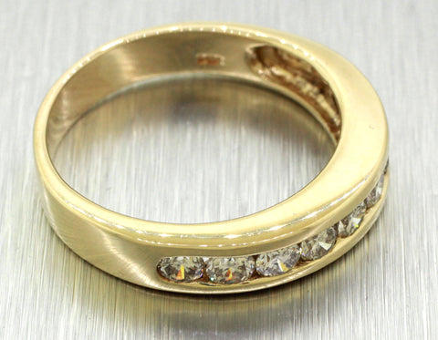 Vintage Estate 14k Solid Yellow Gold 1.00ctw Diamond Large Men's Wedding Band
