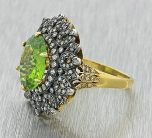 Vintage Estate Antique Style Silver 18k Yellow Gold 7.46ctw Peridot Diamond Ring