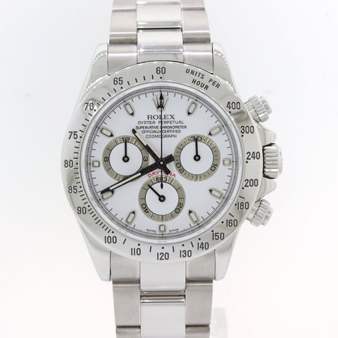 MINT 2007 Rolex Daytona Cosmograph 116520 White Steel Chronograph Watch