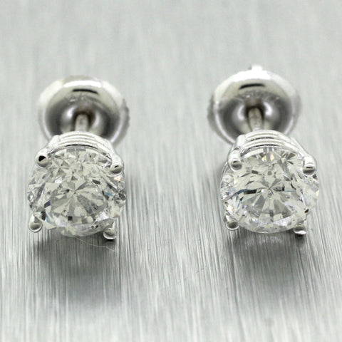 NEW Modern 14k Solid White Gold 2.18ctw Diamond Round Stud Earrings