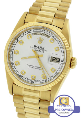 Rolex Day-Date President Silver Diamond 36mm 18238 18K Yellow Gold Presidential