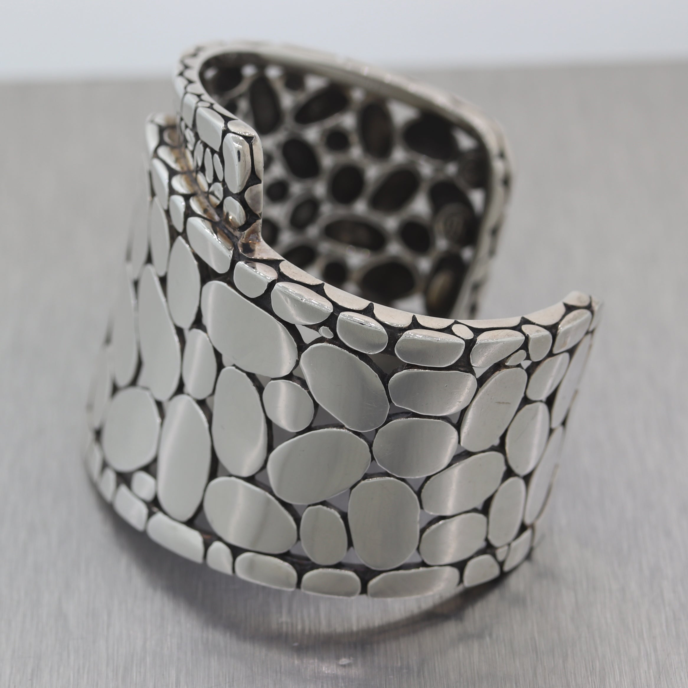 John Hardy Sterling Silver Wide Kali Pebble Cuff Bangle Bracelet