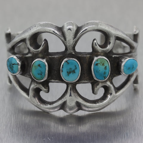 Antique Vintage Estate Sterling Silver Navajo Sandcast Turquoise Old Pawn Cuff