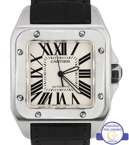 MINT Cartier Santos 100 XL Large W20073X8 2656 38mm Leather Automatic Watch