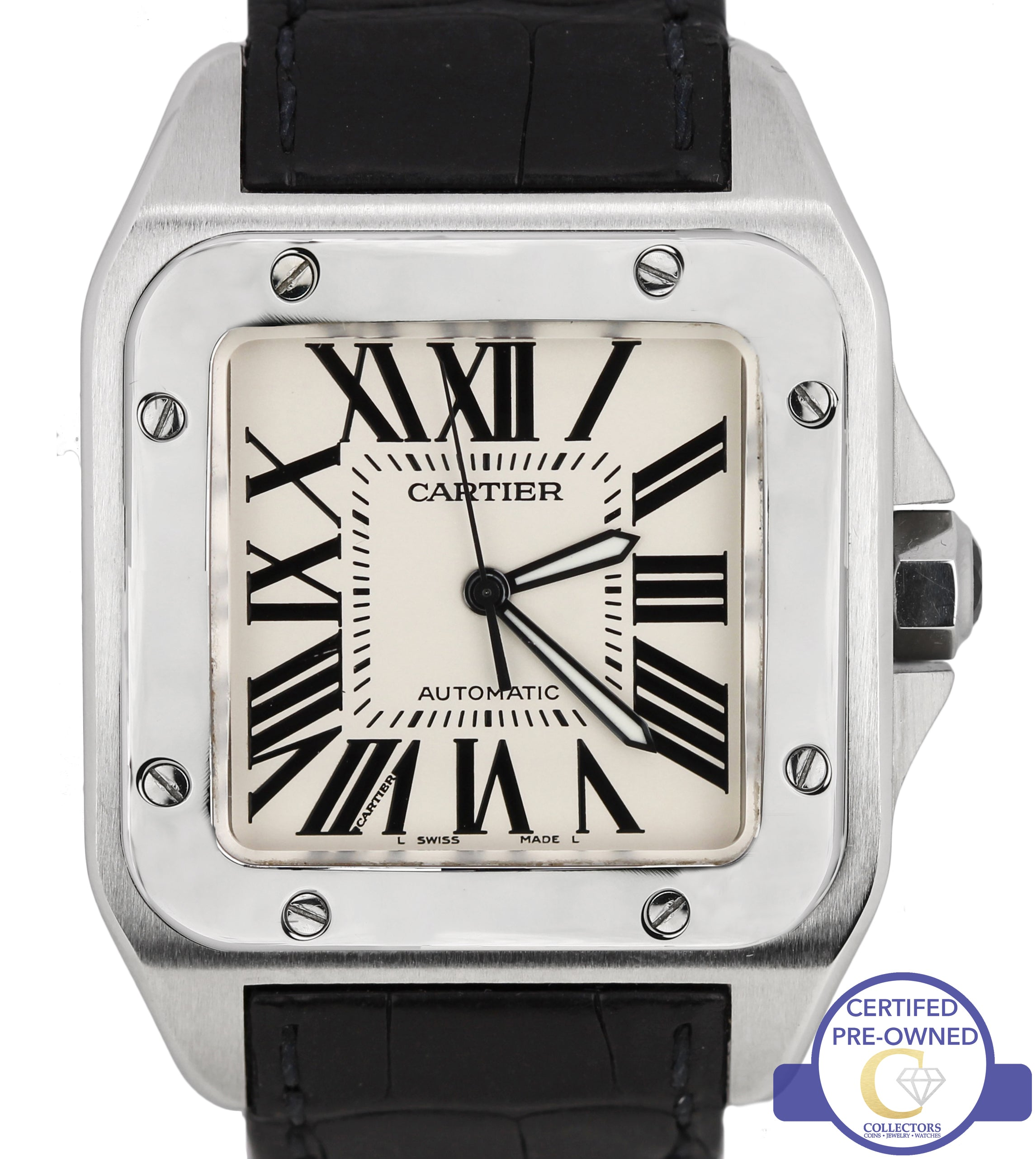 3fb559261 MINT Cartier Santos 100 XL Large W20073X8 2656 38mm Leather Automatic Watch  ...