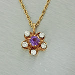 Antique Art Deco 14k Solid Yellow Gold Amethyst Diamond Flower Pendant Necklace