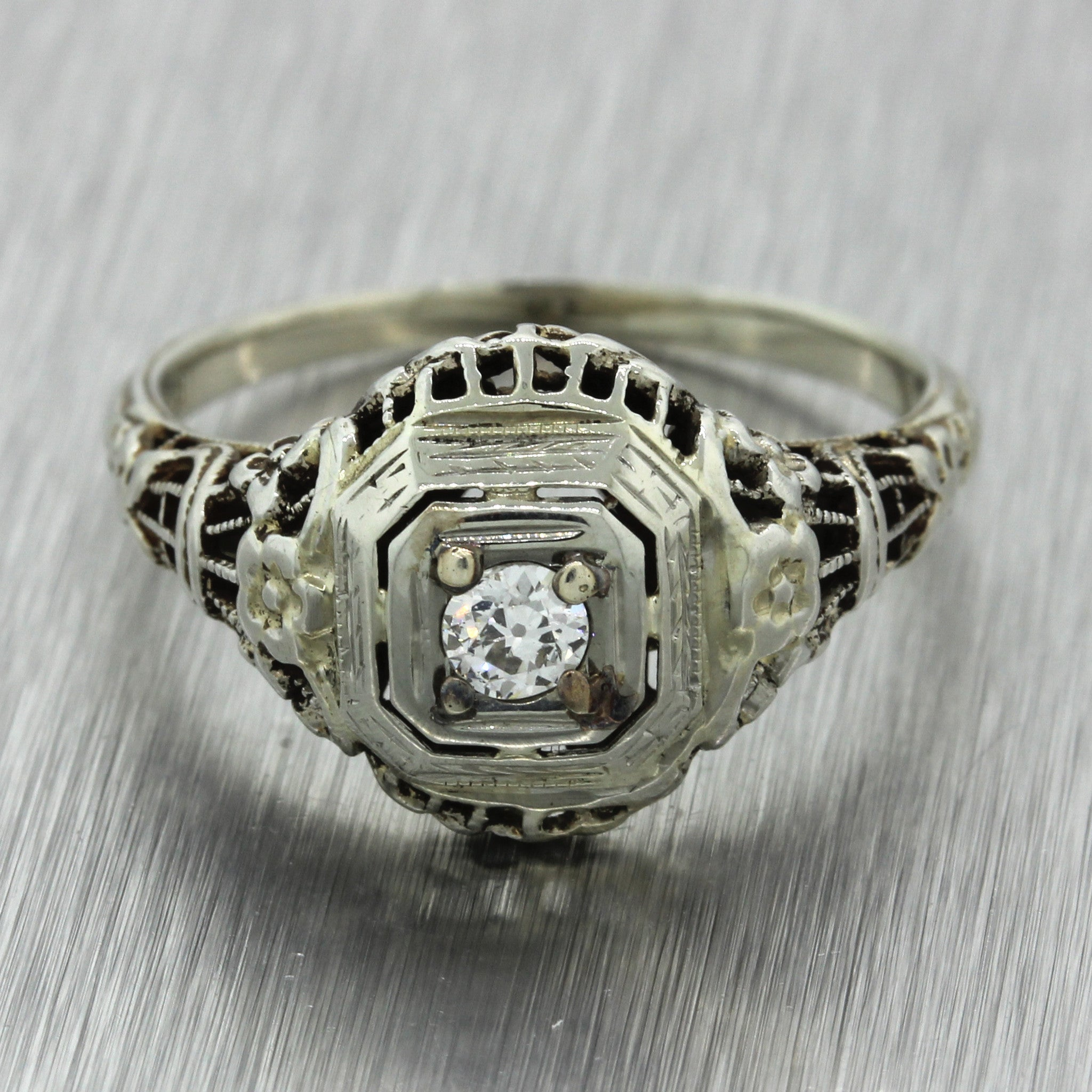 1930s Antique Art Deco 18k Solid White Gold .15ct Diamond Engagement Ring