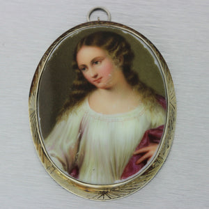 1930s Antique Art Deco French 14k Solid Gold Miniature Portrait Pendant Brooch
