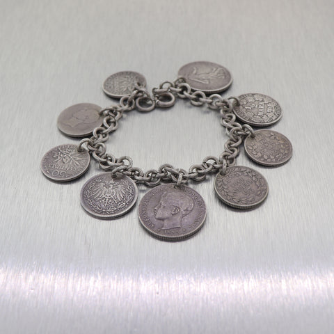 Antique 1920's Sterling Silver World Coin Charm Bracelet