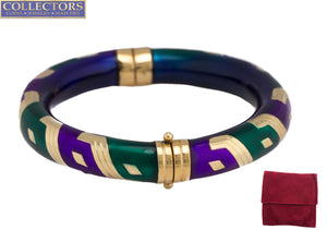 La Nouvelle Bague 925 Sterling 14K Gold Purple Green Enamel Bangle Bracelet