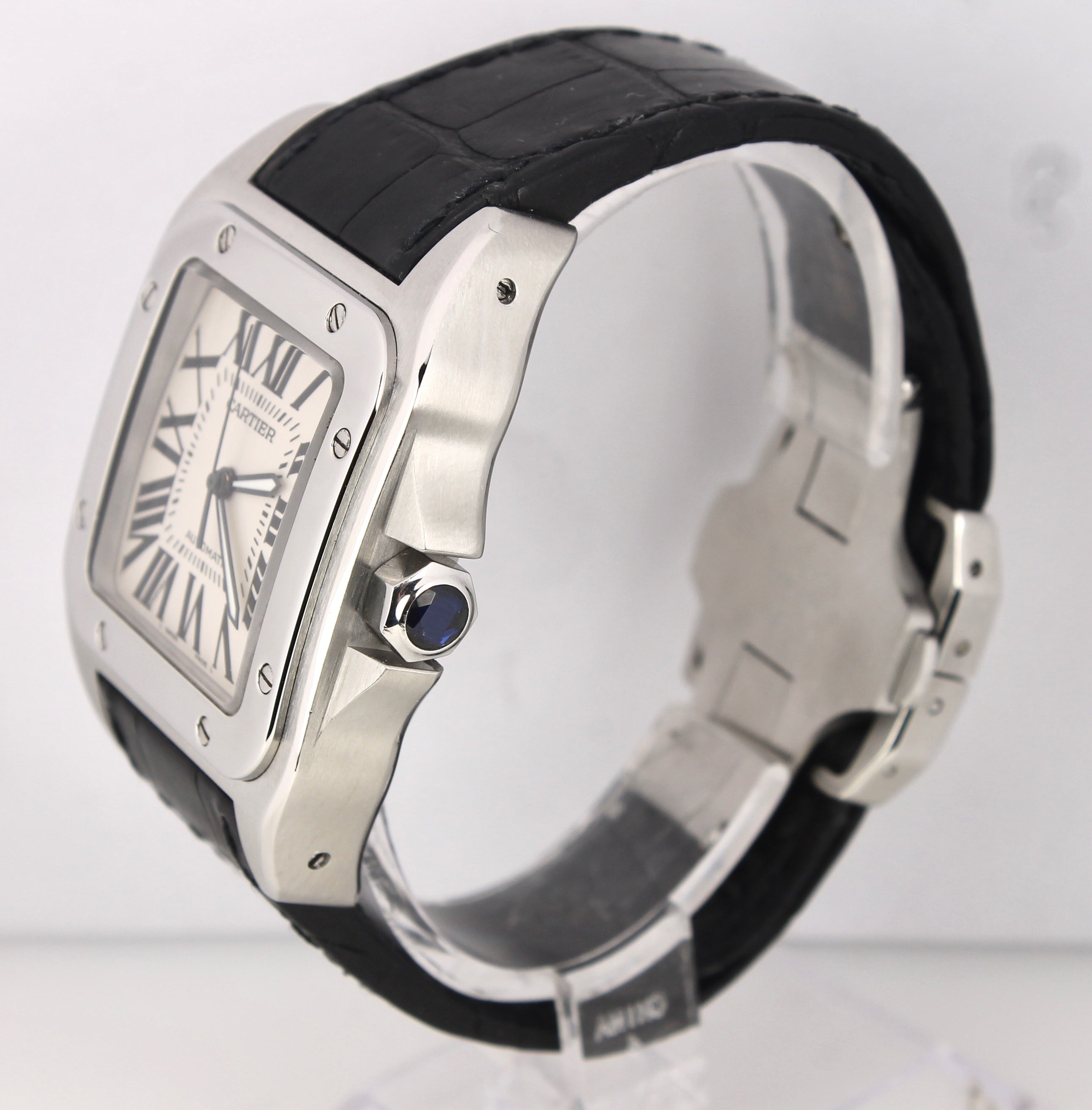 3608fb2b5 ... MINT Cartier Santos 100 XL Large W20073X8 2656 38mm Leather Automatic  Watch ...