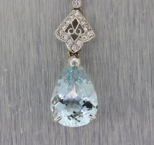 Vintage 14k White Gold Tear Drop 6.75ctw Aquamarine Diamond Pendant Necklace G8