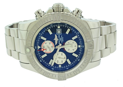 MINT Breitling Super Avenger Chronograph Navy Blue Dial A13370 Steel 48mm Watch