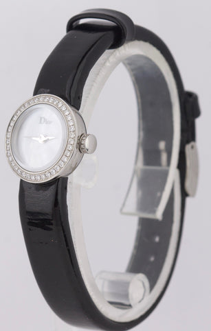 Ladies Dior Stainless Steel Automatic Diamond Mother of Pearl Leather Band Watch
