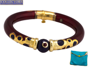 La Nouvelle Bague 18K Yellow Gold Sterling Burgundy Blue Enamel Bangle Bracelet