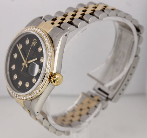 Rolex DateJust 16013 36mm Diamond 18K Two-Tone Stainless Black Jubilee Watch
