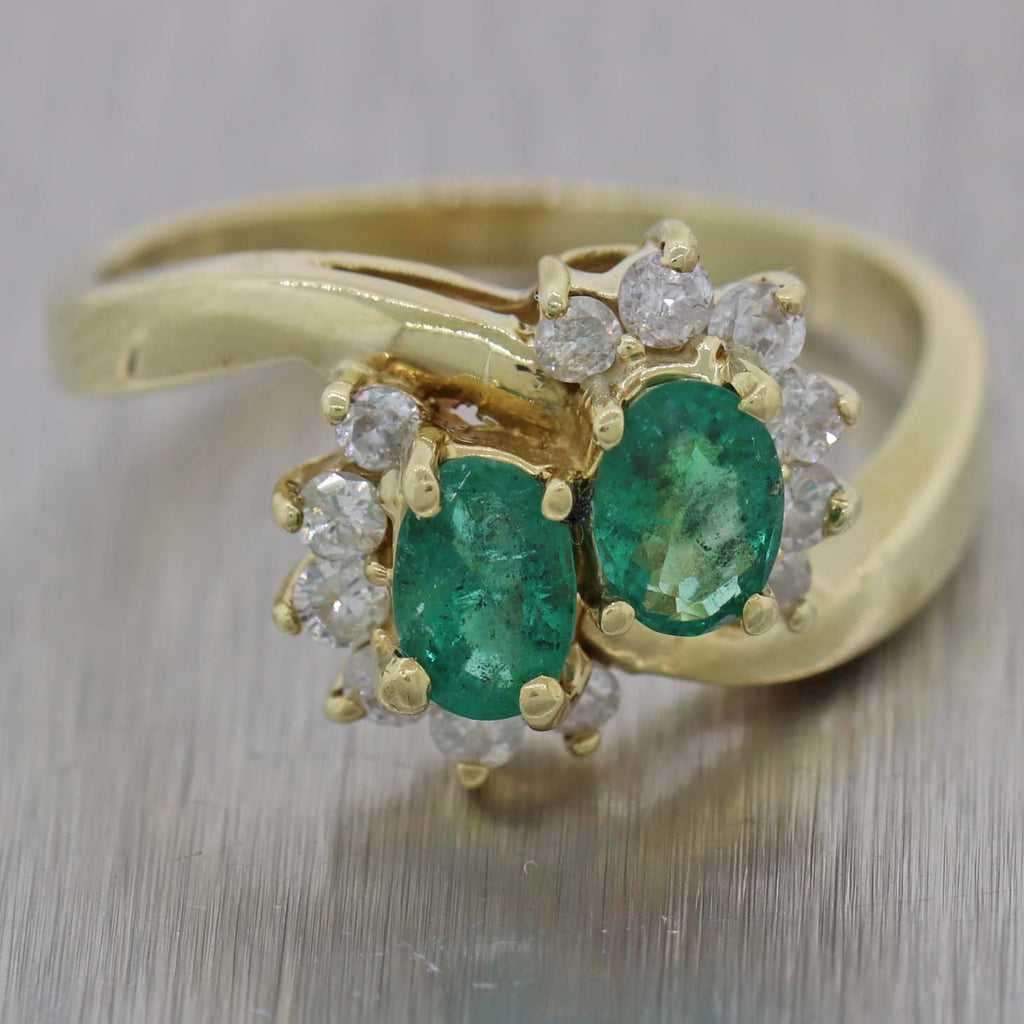 Vintage Estate 14k Yellow Gold Green Emerald & Diamond ByPass Ring