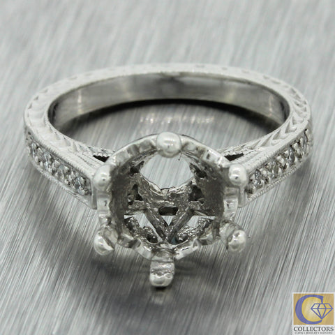 Tacori Engraved Solid Platinum Diamond Mounting Setting Engagement Ring