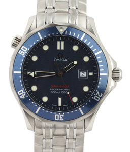 Men's Omega Seamaster Professional 300M Blue Red Wave Quartz 41mm 2221.80 Watch