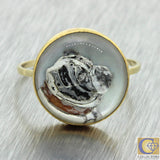 1880s Antique Victorian 18k Solid Yellow Gold Essex Glass English Bull Dog Ring