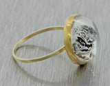 1880s Antique Victorian 14k Solid Yellow Gold Essex Glass English Bull Dog Ring
