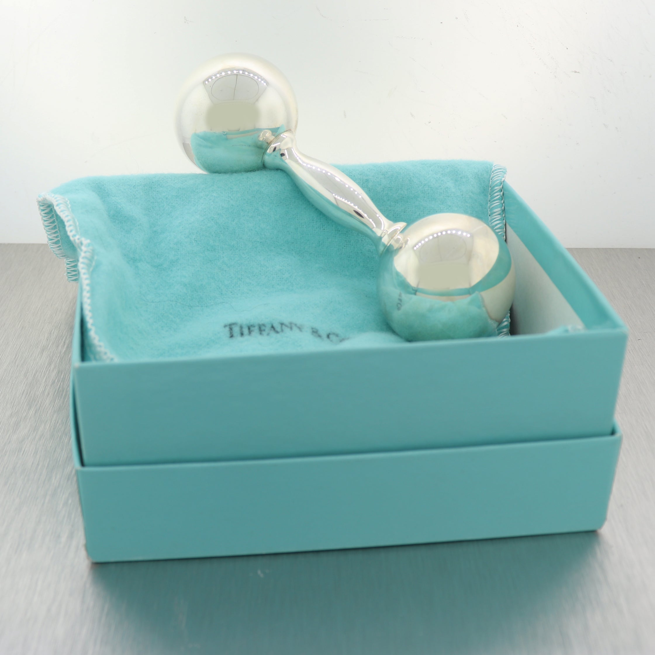 Tiffany & Co. Sterling Silver Barbell Baby Rattle