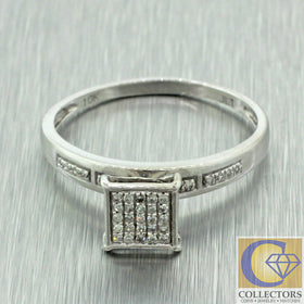 Vintage Estate 14k Solid White Gold 0.20ctw Diamond Cluster Ring