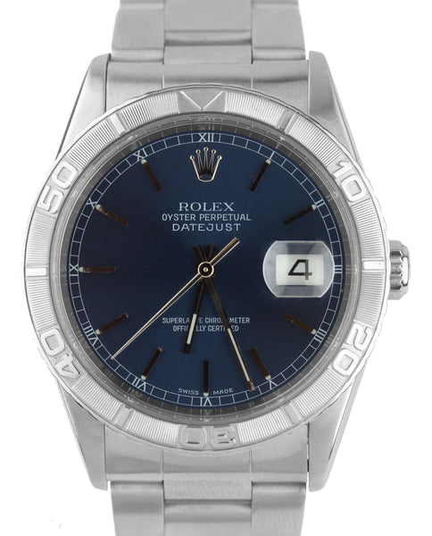 2003 Rolex DateJust Turn-O-Graph Blue Roman 36mm 16264 Stainless 18K Gold Watch