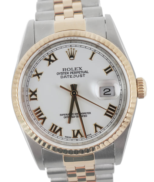 1996 Rolex DateJust 16233 36mm Two Tone Gold White Roman Jubilee No Holes Watch