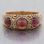 Men's 1870's Antique Victorian 14k Yellow Gold 2.50ctw Garnet Gypsy Band Ring