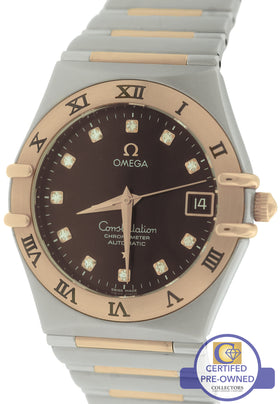 Omega Constellation '95 35mm Diamond Brown Two-Tone Rose Red Gold 1301.60.00