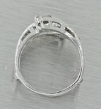 1920 Antique Art Deco Estate 14k White Gold Diamond Insert Engagement Ring Guard