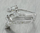 1920s Antique Art Deco Estate 14k White Gold .50ctw Diamond Insert Engagement Ring